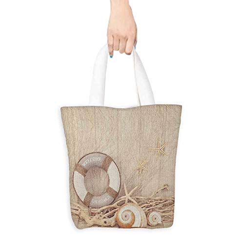 Natural canvas tote Coastal Welcome On Board Life Buoy Wooden Sepia Fishnet Holiday Maritime Theme Print Leisure travel bag 16.5