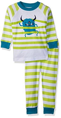 Gymboree Boys' Toddler 2-Piece Tight FIT Long Sleeve Pajama Set, Monster Stripe, 2T