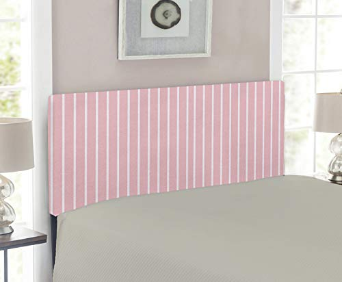(Lunarable Pale Pink Headboard, Simplistic Vintage Fashion Vertically Striped Pattern Geometric Classical, Upholstered Decorative Metal Headboard with Memory Foam, for Twin Size Bed, Pink Pale Pink)