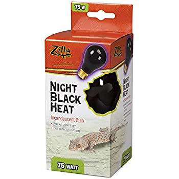 Zilla Reptile Terrarium Heat Lamps Incandescent Bulb, Night Black, 75W