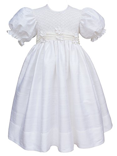 (Baby Girls Christening Baptism Hand Smocked Silk Organza Dress Ivory)