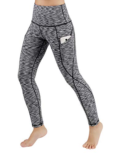 ODODOS High Waist Out Pocket Yoga Pants Tummy Control Workout Running 4 Way Stretch Yoga Leggings,SpaceDyeBlack,X-Large