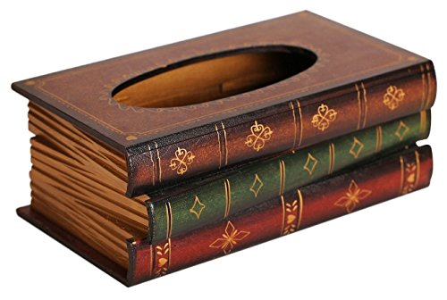 GREEN FABWOOD Elegant Hand Crafted Wooden Scholar's Antique Book Tissue Box Dispenser