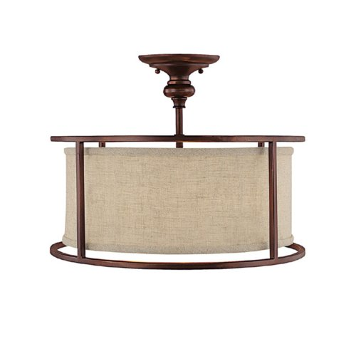 Capital Lighting 3914BB-458 Midtown Collection 3-Light Semi-Flush, Burnished Bronze Finish with Beige Fabric Shade and Frosted Diffused Glass