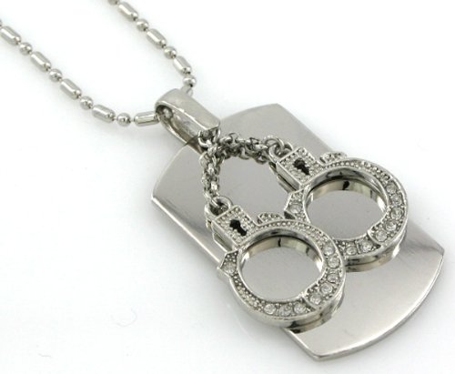 (Handcuffs - Dog Tag Necklace-free Chain)