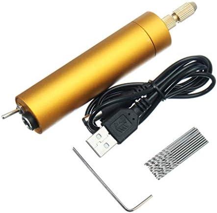 ミニ 電動ハンドドリル 10個ツイストビット付き DIYツール 木製ボード PCB回路基板用 DC 5V