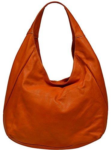 Attractive practical leather Orange handbag Tita Arancione over the shoulder