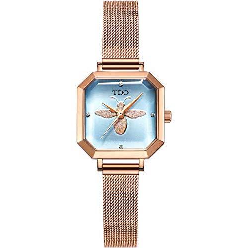 SICKALSA Women's Watch Creative Watch Swiss Movement Quartz Watch Waterproof Fashion Leather Steel Wristband D6038,Lightblue,G