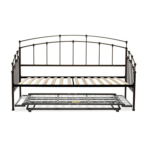 - Fenton Complete Metal Daybed with Euro Top Deck and Trundle Bed Pop-Up Frame, Black Walnut Finish, Twin
