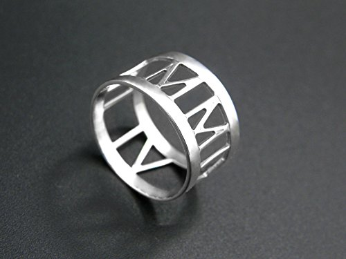 Roman numeral ring custom engraved with date or initials 925 sterling silver jewelry for women (Anniversary Roman Numeral Rings)