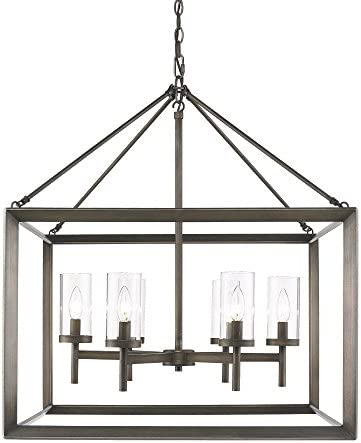 Golden Lighting 2073-6 GMT Chandelier with Clear Glass Shades, Gunmetal Bronze Finish