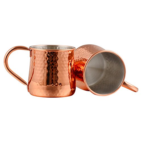 Moscow Mule Mug - 18 oz Stainless Steel Cups - Set of 2 - Rose Gold New-type by Finneshoky