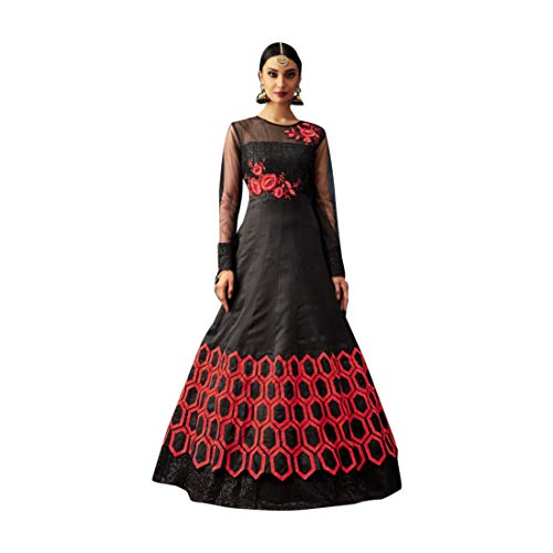 (Black Indian Ethnic Designer Raw Silk Net Semi-stitched Anarkali Suit Women Muslim Evening dress 7806)