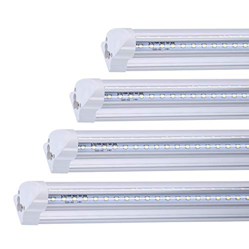 FALANFA 8ft Dual-Sided V-Shape Integrated LED Tube Lights 4 Pack, 72W 72000LM, AC85-277V, SMD2835 Clear Cover, Cool White 6000K, LED Cooler Door Light