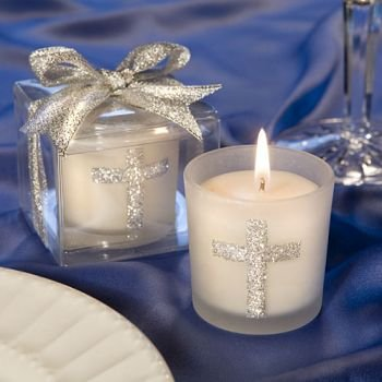 Communion Candle Favors - Candle Favors with Sparkling Silver Cross (24 pieces)