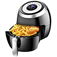 GraceFINE XL 1500W 3.8 QT Digital Oil Free Power Airfryer Oven with Detachable Basket Dual Timer Temperature Control LED Display and Cookbook
