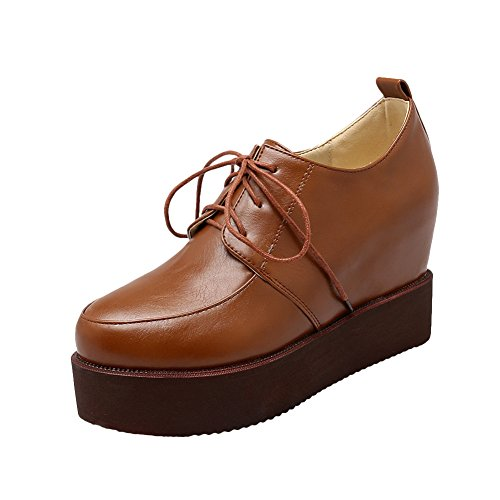 Latasa Womens Fashion Lace up Platform Wedges Oxford Shoes Light Brown U432s1RtR