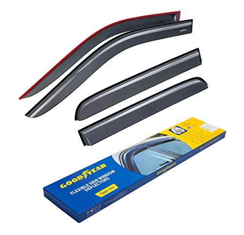 Goodyear Shatterproof Side Window Deflectors for Trucks Dodge RAM 2009-2018 Crew Cab, Tape-on Rain Guards, Vent Window Visors, 4 Pieces - GY003106