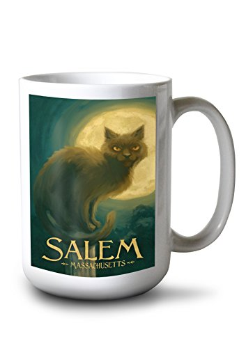 Lantern Press Salem, Massachusetts - Black Cat - Halloween Oil Painting (15oz White Ceramic Mug) -