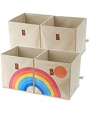 Lilyfish Collapsible Fabric Storage Cubes Organizer Bins Rainbow Storage Bins Nursery Cube Storage Basket 12 x 12 Inch Storage Cube Baskets for Organizing Cubbies  Playroom Storage Boxes  Toy Bin 4pcs