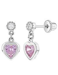 925 Sterling Silver Cubic Zirconia Girl's Dangle Heart Screw Back Earrings