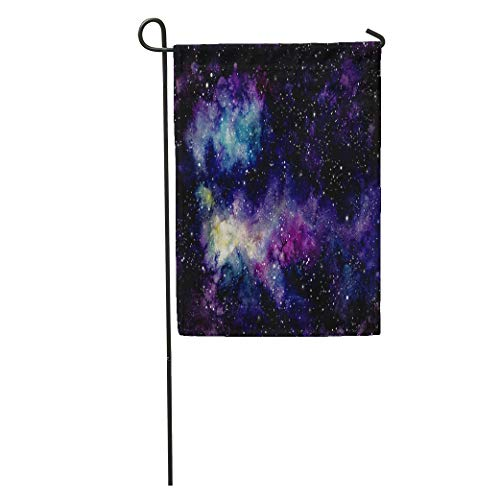 Semtomn Garden Flag Pink Cosmos Watercolor Starry Sky Nebula and Yellow Shine Blue Home Yard House Decor Barnner Outdoor Stand 12x18 Inches Flag ()