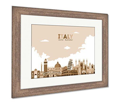 Ashley Framed Prints Italy City Skyline, Wall Art Home Decoration, Sepia, 26x30 (frame size), Rustic Barn Wood Frame, (Free Rome Postcard)