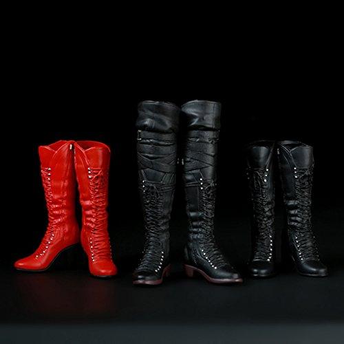MagiDeal 1/6 Ata para Arriba Zapatos Altos de Cargadores de Rodilla de Medio-becerro para 12 Pulgadas Figura Femenina - Negro Extremadamente a la venta CSfyUPDsd