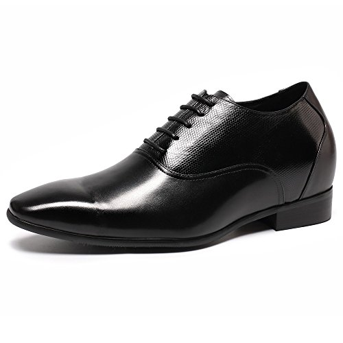 CHAMARIPA height Increasing Elevator Shoes - Mens Leather Black Oxford Dress Shoes - 2.96 inches K4022 8 D(M) US by CHAMARIPA