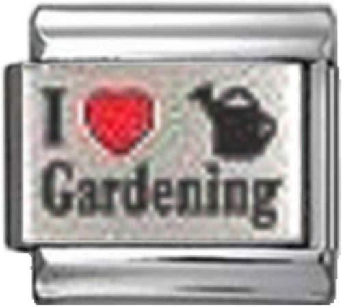Stylysh Charms Garden I Love Gardening RH Laser Italian 9mm Link GA035