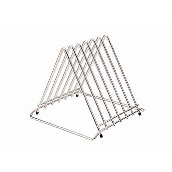 Amazon.com: Acero inoxidable Tabla de cortar Rack 6 ranuras ...