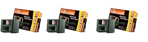 Bird-X Yard Gard Electronic Animal Repeller keeps unwanted pests out of your yard with ultrasonic sound-waves (Pack of 3) -