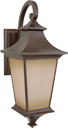 Craftmade Z1324-98 Wall Lanterns with Champagne Frost Glass Shades, Bronze