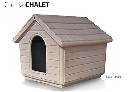 Caseta de plástico, modelo Chalet, cucce para perros