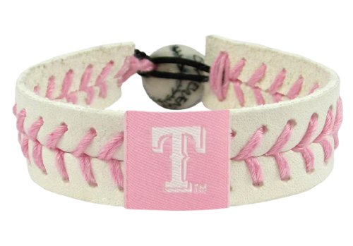 MLB Texas Rangers Pink Baseball Bracelet