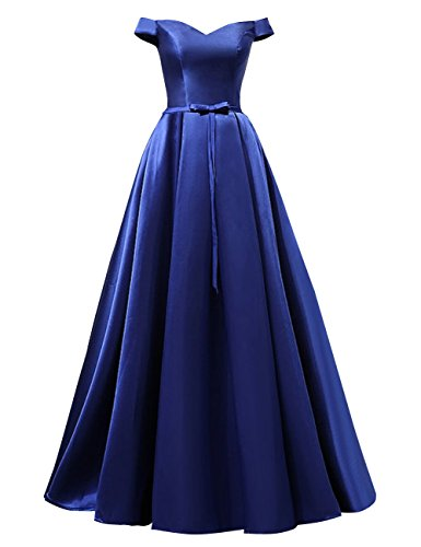 Bess Épaule Des Femmes Hors Mariage Lacer Robes De Soirée De Fête De Longueur De Plancher Bleu Royal