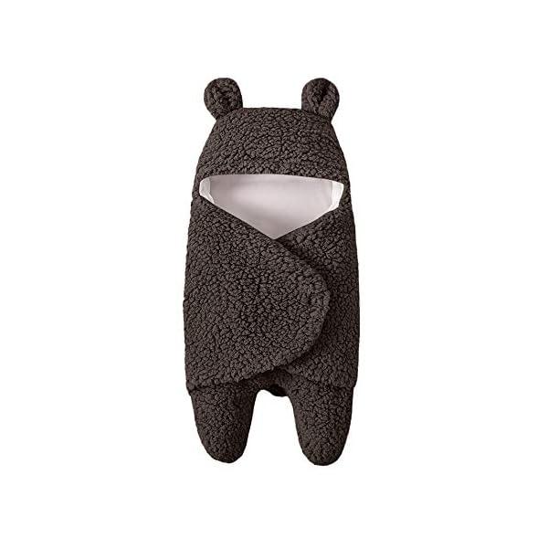 Newborn Baby Wrap Swaddle Receiving Blanket Cute Bear Warm Soft Sleeping Bag Sleep Sack Stroller Wrap for Baby (Brown)