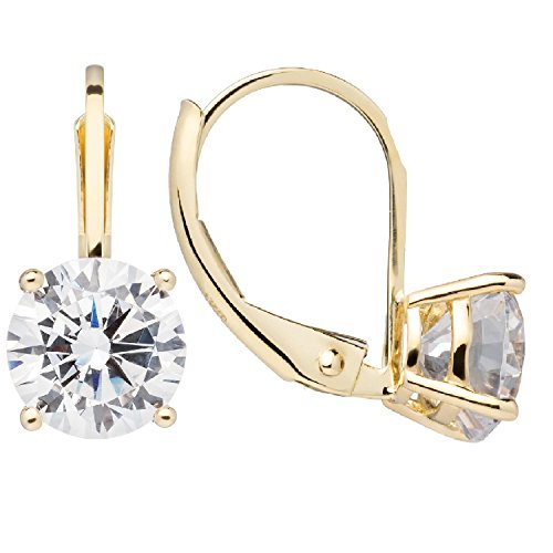 14K Solid Yellow Gold Earrings | Round Cut Cubic Zirconia | Leverback Drop Dangle Basket Setting | 2.0 CTW | With Gift Box ()