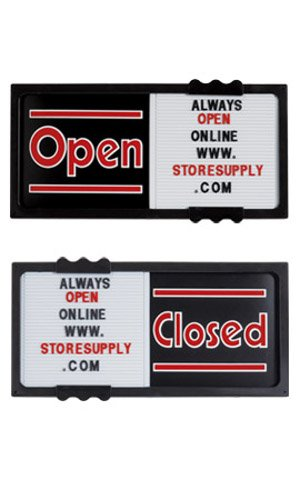 Plastic Horizontal Black Open/Closed Sliding Sign Board 20