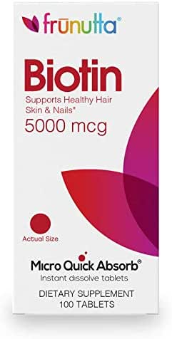 Frunutta Biotin 5000 mcg, Beautiful Hair, Healthy Nails, Under The Tongue Instant Dissolve Tablets, 3 Month Supply, Proudly Made in USA