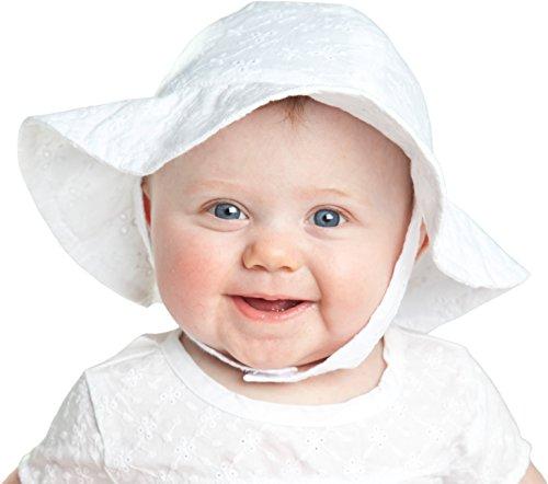 Huggalugs Baby Girls White Flower Eyelet Sunhat,Multi,0-6 Months