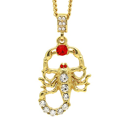 14K Gold Plated Red/Clear CZ Scorpion Pendant w/ 3mm Cuban Chain (24