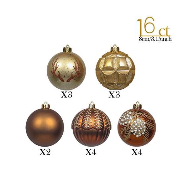 Valery Madelyn Palle di Natale 16 Pezzi 8cm Palline di Natale, Rame da Bosco e Oro Infrangibile Palla di Natale Ornamenti Decorazione per la Decorazione Dell'Albero di Natale 3 spesavip