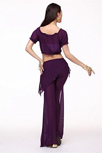 Danza del vientre Disfraz Set Bandage Yarn Top+See-through Wide Leg Pantalones Dark Purple