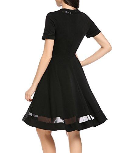 9ffbc5bab911ef ... Meaneor Damen Elegant Vintage Kleider Swing Cocktailkleid Abendkleid  Sommerkleider Knielang mit Netzeinsatz Schwarz f11RY0sCH ...