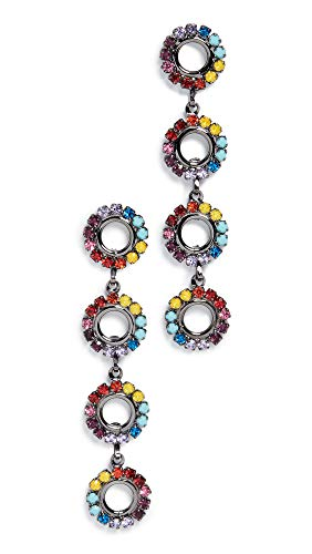 Elizabeth Cole Women's Minka Linear Drop Earrings, Rainbow, Silver, One Size