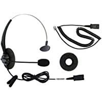 DailyHeadset RJ9 Corded Phone Headset for Most Common Corded Home Telephones Office IP VoIP Analog Phones Aastra Avaya Digium Mitel NEC Polycom ShoreTel Toshiba etc Phone