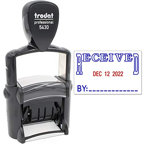 Trodat 5430 Professional Self-Inking Date Stamp with Received - Blue/Red 2 Color Ink (Recieved Stamp With Date)
