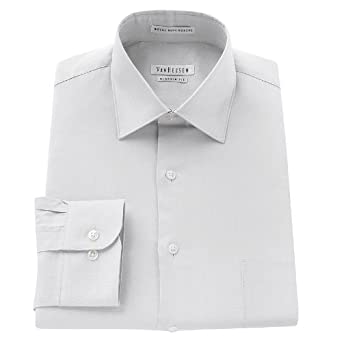 8207910703ad Image Unavailable. Image not available for. Color: Van Heusen Classic-Fit  Royal Herringbone Textured No-Iron Spread-Collar Dress Shirt