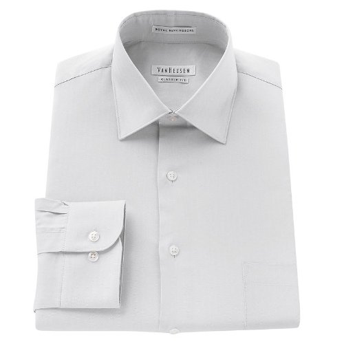 Van Heusen Mens Classic-Fit Twill Textured Spread-Collar Dress Shirt White (17.5
